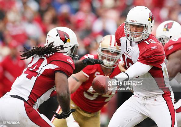 Arizona Cardinals quarterback John Skelton hands the ball off as the 49ers lead the Cardinals 107 at halftime at Candlestick Park in San Francisco Ca