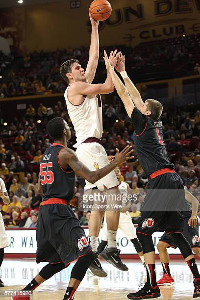 ASU Center Jordan Bachynski goes up for a shot during Arizona State's Pac12 NCAA basketball game against Utah at Wells Fargo Arena in Tempe Arizona...