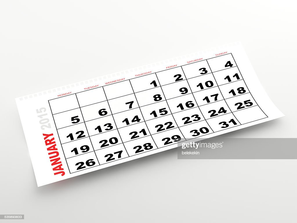 January 2015 calendar : Stock Photo