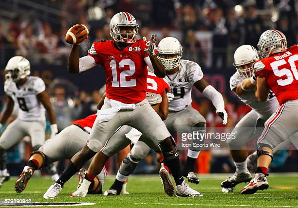 Ohio State Buckeyes quarterback Cardale Jones in the pocket during the Ohio State Buckeyes game versus the Oregon Ducks in the College Football...