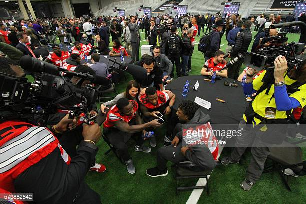 Ohio State Buckeyes safety Mike Maduko and offensive lineman Chase Farris are recruited to work as media by the ESPN Game Day Crew during the media...
