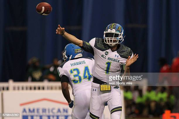 Team Highlight quarterback Jarrett Stidham delivers a pass during the 2015 Under Armour AllAmerica Game at Tropicana Field in St Petersburg Florida