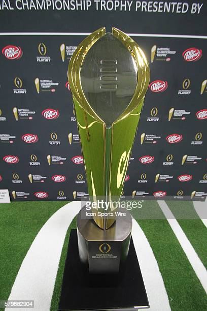 The National Championship Trophy during the media day at the Kay Bailey Hutchinson Convention Center in Dallas Texas