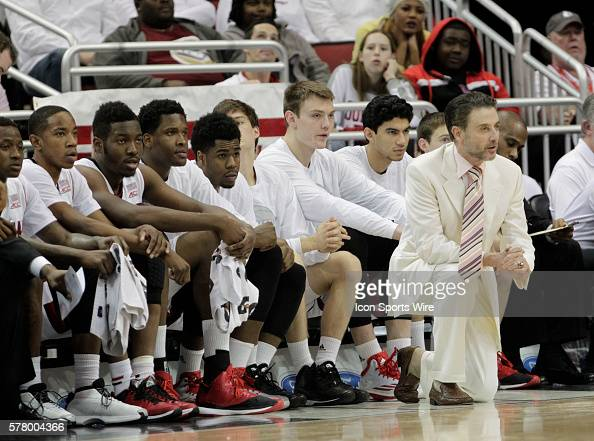University of Louisville head coach Rick Pitino reacts to his teams play against the University North Carolina during the first half of play at the...