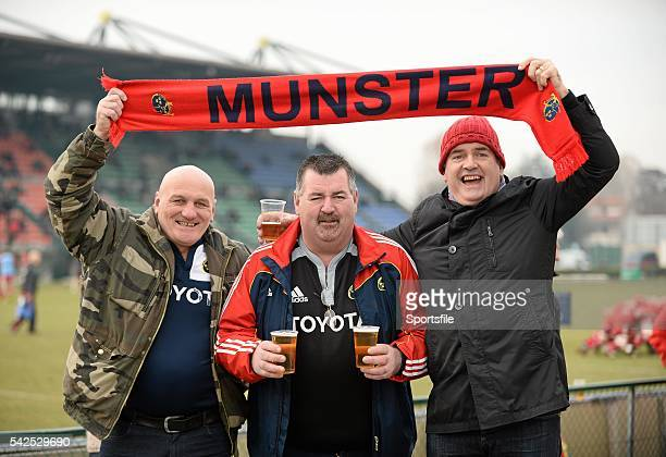 24 January 2016 Munster supporters Ger Maher from Killarney Co Kerry Pat St John from Miltown Malbay Co Clare and Con J Lynch from Listowel Co Kerry...