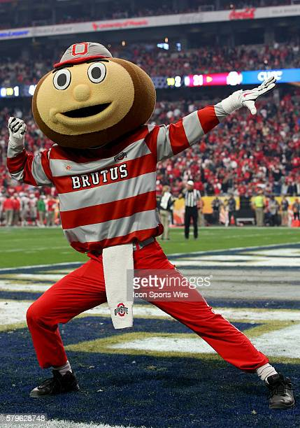 Ohio State mascot Brutus the Buckeye celebrating after a touchdown during an NCAA football game between Notre Dame Fighting Irish and the Ohio State...