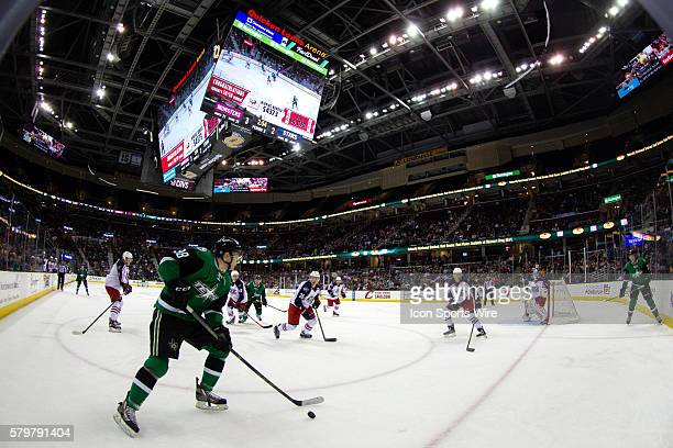 Texas Stars C Jason Dickinson plays the puck during the third period of the AHL hockey game between the Texas Stars and Lake Erie Monsters at Quicken...