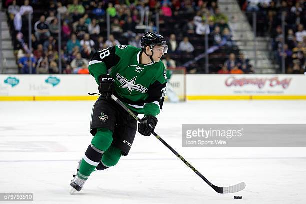 Texas Stars C Jason Dickinson with the puck during the first period of the AHL hockey game between the Texas Stars and Lake Erie Monsters at Quicken...