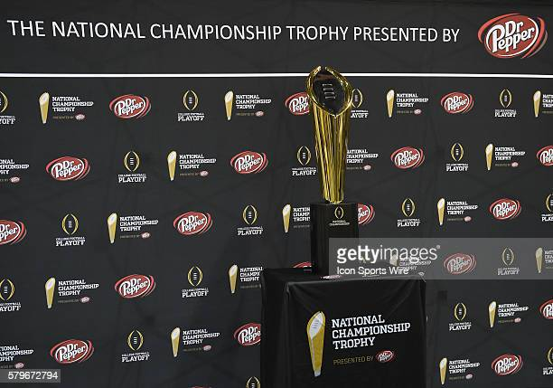 The National Championship Trophy during the Clemson portion of the College Football Playoff National Championship Media Day at the Phoenix Convention...