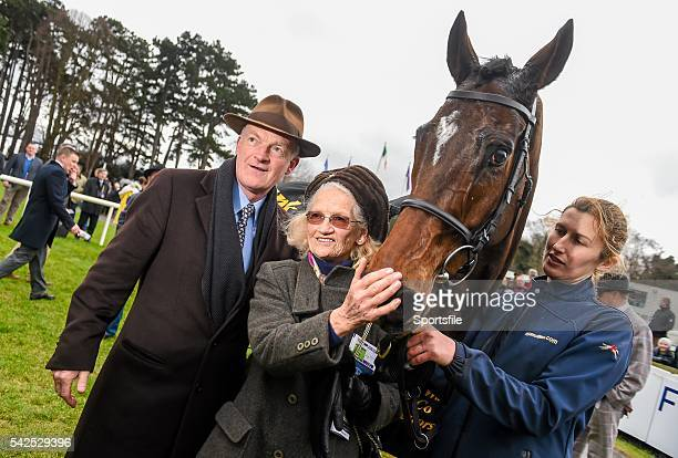 24 January 2016 Trainer Willie Mullins with his mother Maureen and Douvan after winning the Frank Ward Solicitors Arkle Novice Steeplechase...