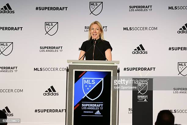 Outgoing NSCAA president and MLS social media director Amanda Vandervort Hays The 2017 MLS SuperDraft was held at The Los Angeles Convention Center...