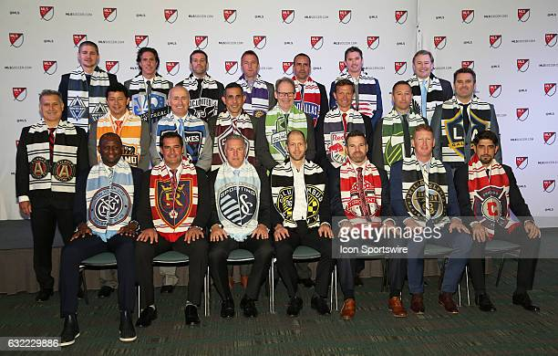 The head coaches pose for a photo Front row New York City FC's Patrick Vieira Real Salt Lake's Jeff Cassar Sporting Kansas City's Peter Vermes...