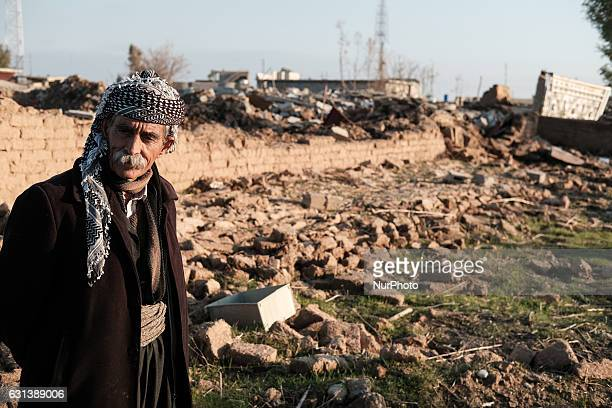 January 2017 Wardak Iraq Elder shepard in front of his destroyed houseThe Kakai Kurds are returning to their homes as Mosul offensive continiues The...