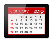 January 2019 Calender on digital tablet isolated on white background