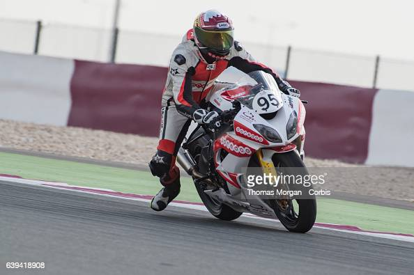 DOHA QATAR January 20th 2017 Losail Circuit Qatar Mashel Al Naimi enters turn 1 during qualifying for the first race of the Qatar Superstock 600...