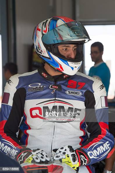 DOHA QATAR January 20th 2017 Losail Circuit Qatar Soud Al Thani waits in the garage before the first race of the Qatar Superstock 600 Championship...