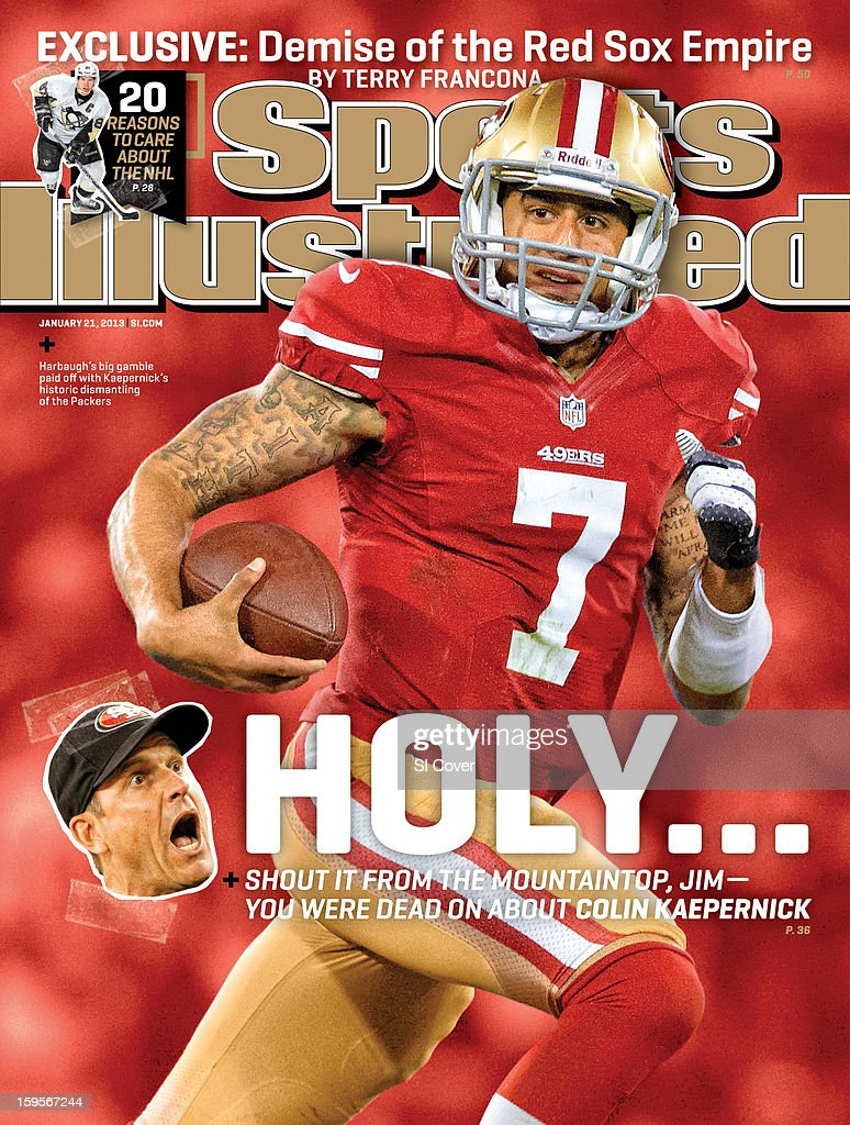 January 21, 2013 Sports Illustrated Cover: San Francisco 49ers QB Colin Kaepernick (7) in action, running for a touchdown vs Green Bay Packers at Candlestick Park. John W. McDonough F73 )