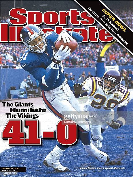 January 22 2001 Sports Illustrated Cover Football NFC Playoffs New York Giants Amani Toomer in action making touchdown catch vs Minnesota Vikings...