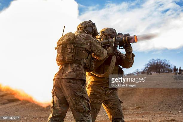 January 26, 2014 - U.S. Army Rangers fire an AT-4 at a range on Camp Roberts, California.