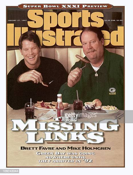 January 27 1997 Sports Illustrated CoverFootball Super Bowl XXXI Preview Casual portrait of Green Bay Packers QB Brett Favre and coach Mike Holmgren...