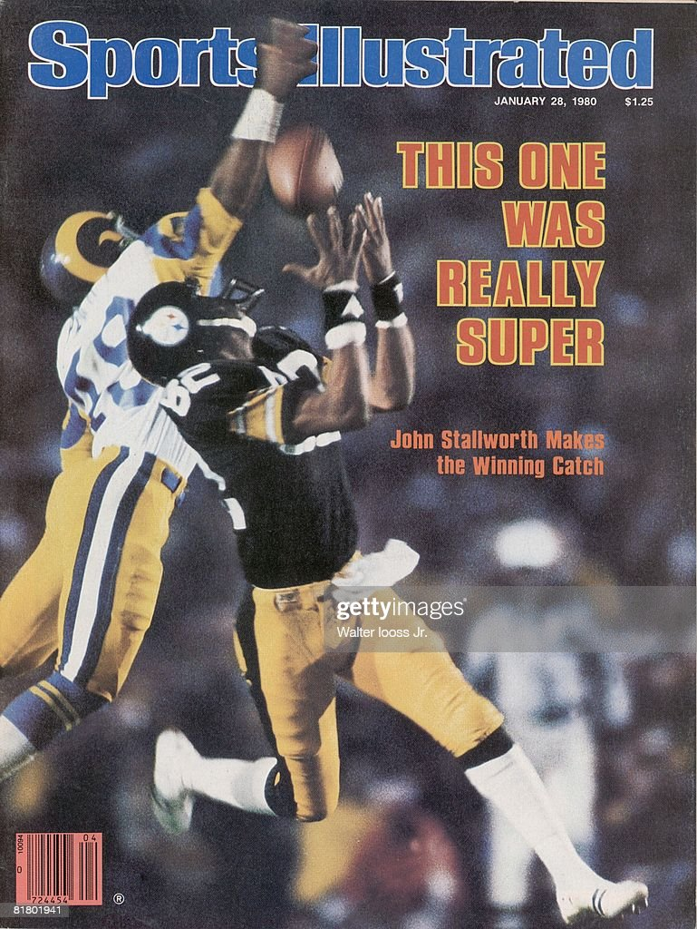 January 28, 1980 Sports Illustrated Cover, Football: Super Bowl XIV, Pittsburgh Steelers John Stallworth (82) in action, making game winning touchdown catch vs Los Angeles Rams Rod Perry (49), Pasadena, CA 1/20/1980