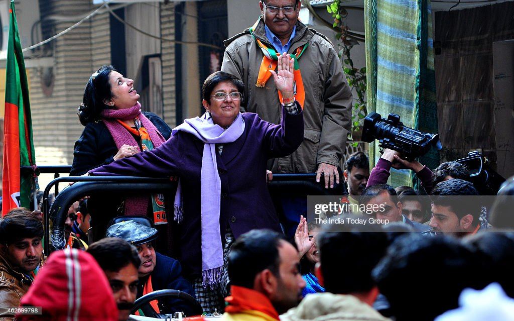 Delhi BJP CM candidate <a gi-track='captionPersonalityLinkClicked' href=/galleries/search?phrase=Kiran+Bedi&family=editorial&specificpeople=2886102 ng-click='$event.stopPropagation()'>Kiran Bedi</a> during election campaign at Krishna Nagar in New Delhi.