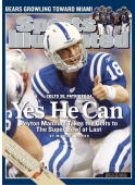 January 29 2007 Sports Illustrated Cover Football AFC Playoffs Indianapolis Colts QB Peyton Manning gesturing thumbs up before snap during game vs...
