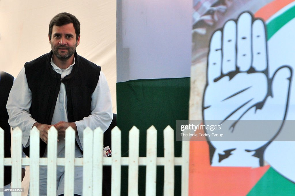 Vice-President of the Indian National Congress party <a gi-track='captionPersonalityLinkClicked' href=/galleries/search?phrase=Rahul+Gandhi&family=editorial&specificpeople=171802 ng-click='$event.stopPropagation()'>Rahul Gandhi</a> rally at Shastri Park in East Delhi.