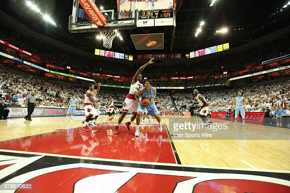 Louisville Cardinals guard Chris Jones goes up to the basket during the NCAA mens basketball game between North Carolina Tar Heels and the Louisville...