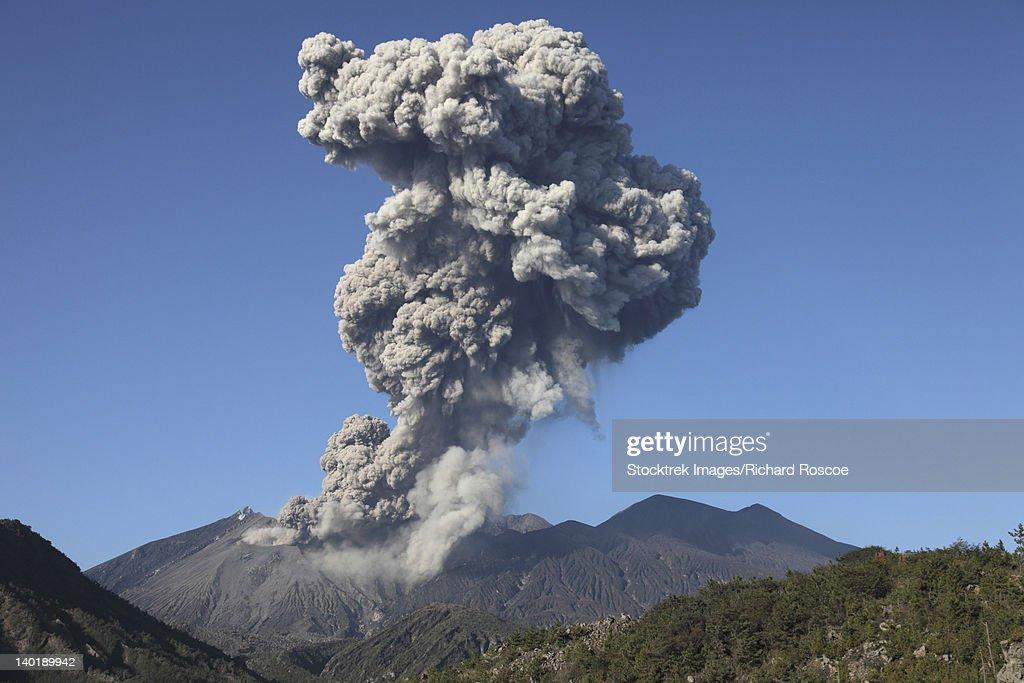January 4, 2010 - Ash cloud following explosive Vulcanian eruption, Sakurajima Volcano, Japan.