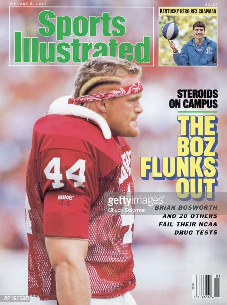 College Football Closeup of Oklahoma Brian Bosworth on sidelines during game vs UCLA Inset College Basketball Kentucky Rex Chapman on photo by Bill...