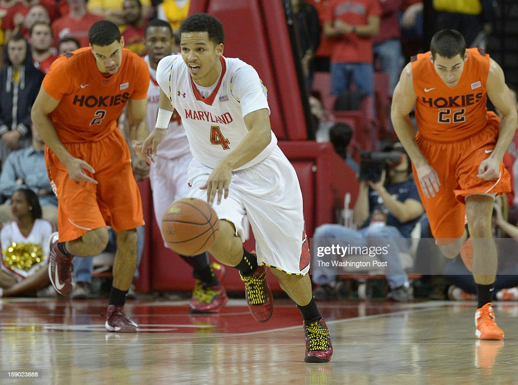 Maryland Terrapins guard Seth Allen (4) starts the fast break off a Virginia Tech turnover during 2nd half action on January 5, 2013 in College Park, MD