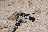 January 7, 2010 - A U.S. Marine zeros his M107 sniper rifle at Range 113 at Camp Wilson, California.