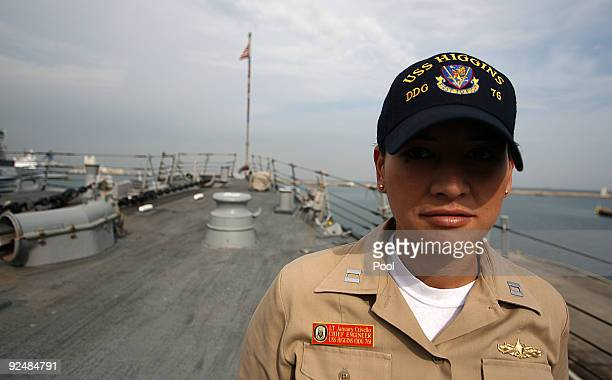 LT January Crivello Chief engineer of the USS Higgins destroyer seen at the top of USS Higgins on October 29 2009 in Haifa Israel The crew of the USS...