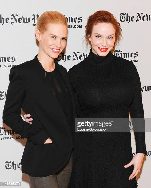 January Jones and Christina Hendricks attend the TimesTalk A Conversation with the Cast of 'Mad Men' at The Times Center on March 20 2012 in New York...