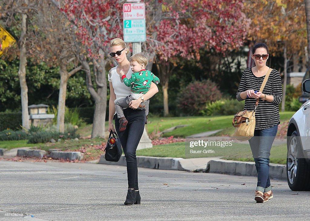 January Jones and her son, Xander Dane Jones, are seen on December 17, 2013 in Los Angeles, California.
