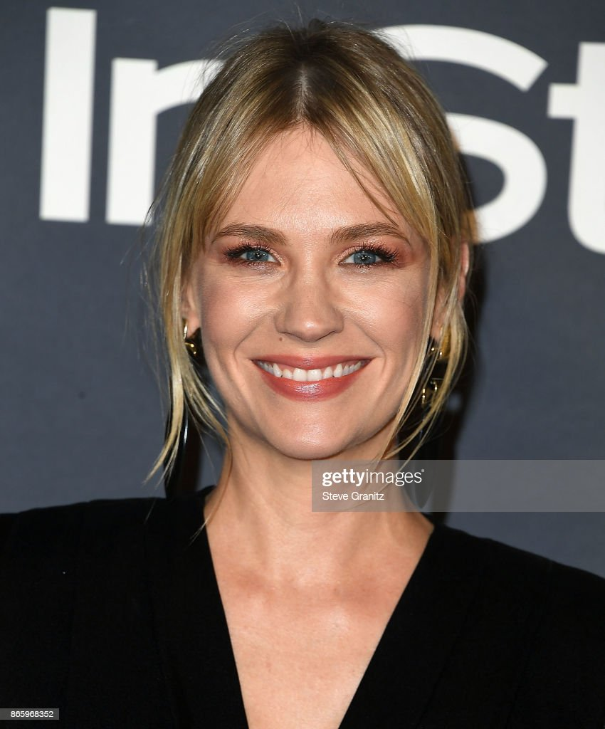 January Jones arrive at the 3rd Annual InStyle Awards at The Getty Center on October 23, 2017 in Los Angeles, California.