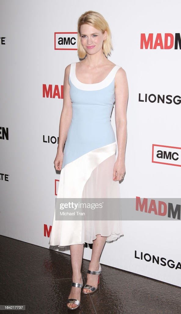 <a gi-track='captionPersonalityLinkClicked' href=/galleries/search?phrase=January+Jones&family=editorial&specificpeople=212949 ng-click='$event.stopPropagation()'>January Jones</a> arrives at AMC's 'Mad Men' season 6 premiere held at DGA Theater on March 20, 2013 in Los Angeles, California.