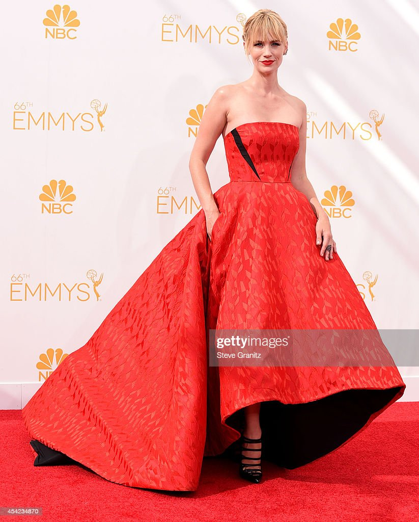 January Jones arrives at the 66th Annual Primetime Emmy Awards at Nokia Theatre LA Live on August 25 2014 in Los Angeles California