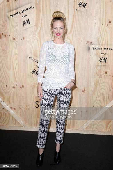 January Jones attends the 'Isabel Marant For HM' Photocall at Tennis Club De Paris on October 24 2013 in Paris France