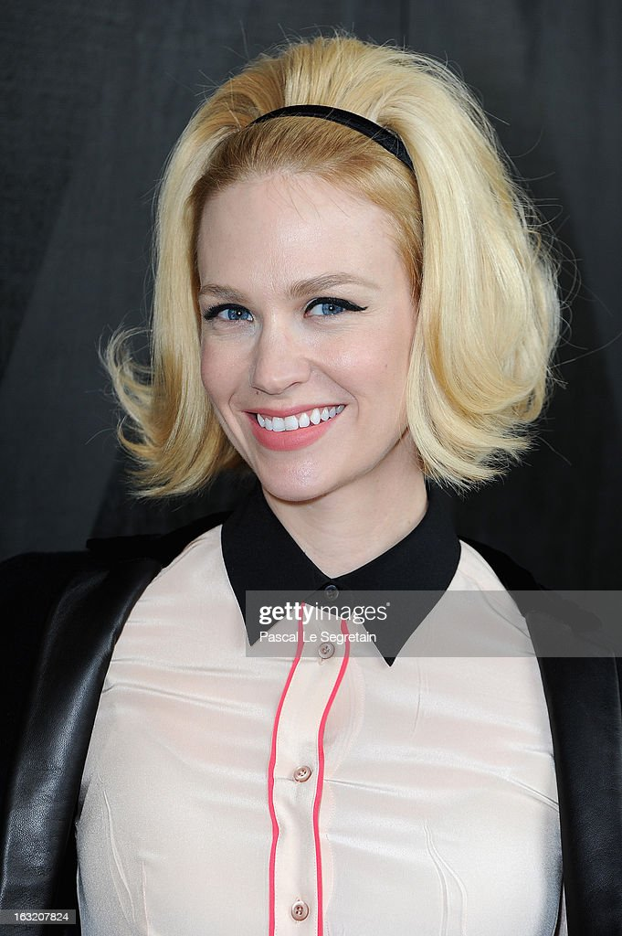 January Jones attends the Miu Miu Fall/Winter 2013 Ready-to-Wear show as part of Paris Fashion Week on March 6, 2013 in Paris, France.