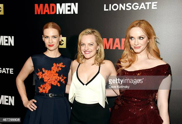 January Jones Elisabeth Moss and Christina Hendricks attend the 'Mad Men' New York Special Screening at The Museum of Modern Art on March 22 2015 in...