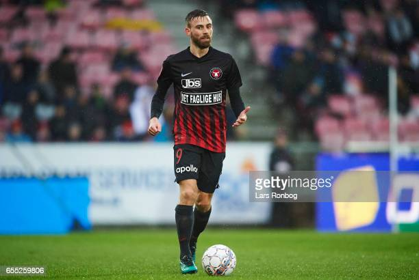 Janus Drachmann of FC Midtjylland controls the ball during the Danish Alka Superliga match between FC Midtjylland and FC Nordsjalland at MCH Arena on...