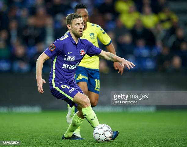 Janus Drachmann of FC Midtjylland controls the ball during the Danish Alka Superliga match between Brondby IF and FC Midtjylland at Brondby Stadion...