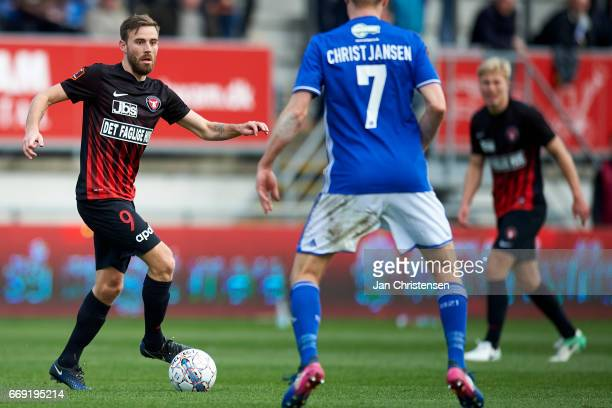 Janus Drachmann of FC Midtjylland controls the ball during the Danish Alka Superliga match between Lyngby BK and FC Midtjylland at Lyngby Stadion on...