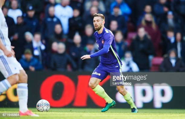 Janus Drachmann of FC Midtjylland controls the ball during the Danish Alka Superliga match between FC Copenhagen and FC Midtjylland at Telia Parken...