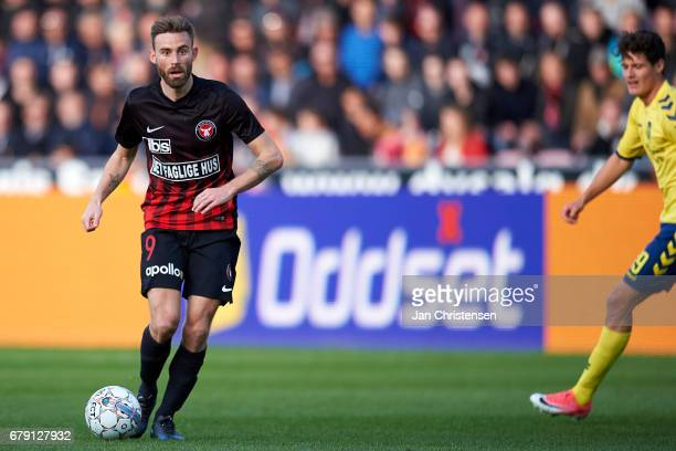 Janus Drachmann of FC Midtjylland controls the ball during the Danish Cup DBU Pokalen semifinal match between FC Midtjylland and Brondby IF at MCH...