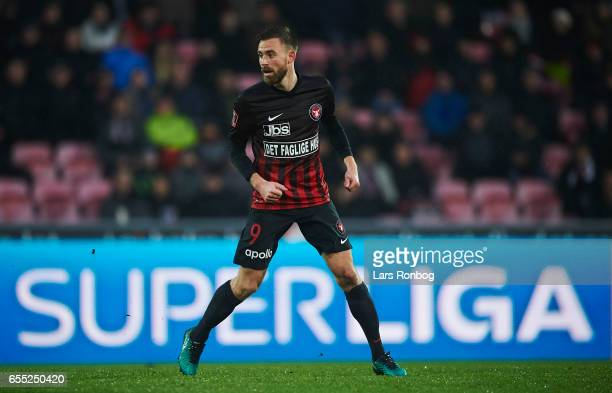 Janus Drachmann of FC Midtjylland in action during the Danish Alka Superliga match between FC Midtjylland and FC Nordsjalland at MCH Arena on March...