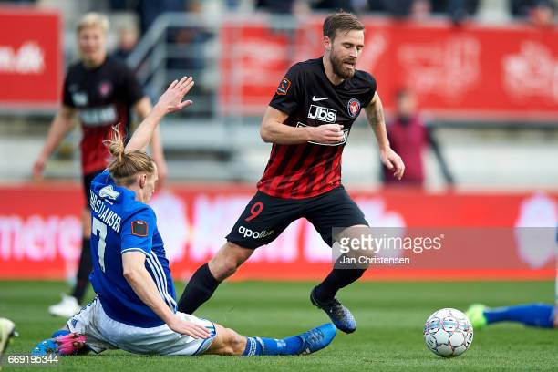 Janus Drachmann of FC Midtjylland in action during the Danish Alka Superliga match between Lyngby BK and FC Midtjylland at Lyngby Stadion on April 16...