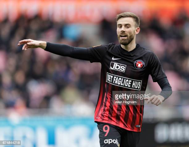 Janus Drachmann of FC Midtjylland in action during the Danish Alka Superliga match between FC Midtjylland and FC Nordsjalland at MCH Arena on April...
